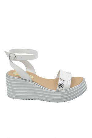 Sandale damă alb + argintiu cu platformă Sabrina