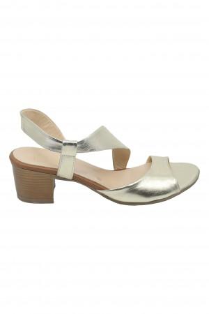 Sandale Vera aurii din piele naturală